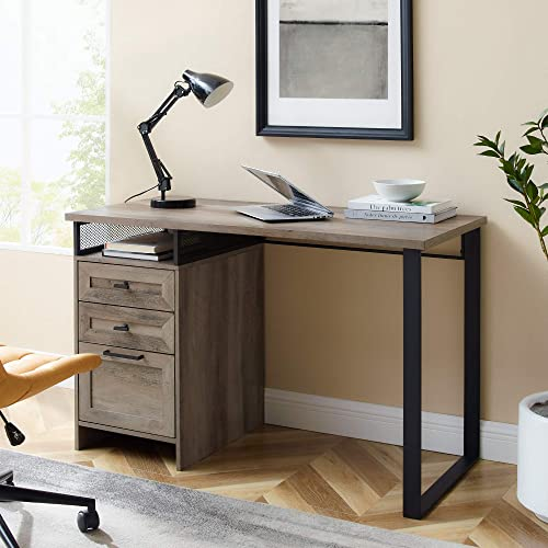 Walker Edison Modern Metal and Wood 3 Drawer Writing Desk Home Office Workstation Small