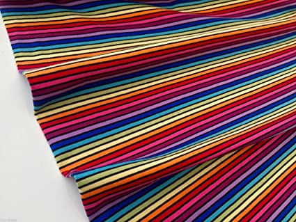 54f2e43bbe2 Image Unavailable. Image not available for. Colour: HomeBuy MULTI STRIPE  Black Rainbow Single Jersey Knit Elastane - 4 Way Stretch Rib Cuff Fabric