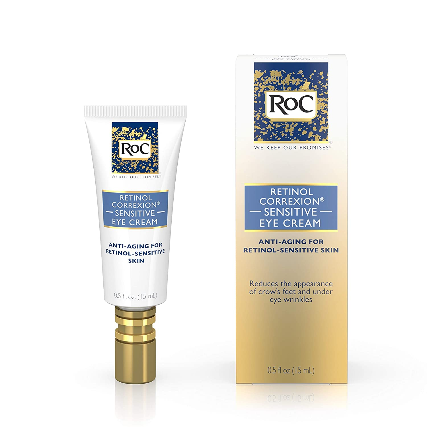 RoC Retinol Correxion Anti-Aging Eye Cream for Sensitive Skin, Anti-Wrinkle Treatment with milder retinol formula that helps condition skin to retinoids.5 fl. oz