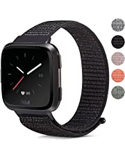 for Fitbit Versa Bands Universal, Marvel.P Replacement Woven Nylon Sport Watch Band Breathable Bracelet Strap Hook and Loop Fastener Adjustable Closure Wristbands for Fitbit Versa Smart Watch