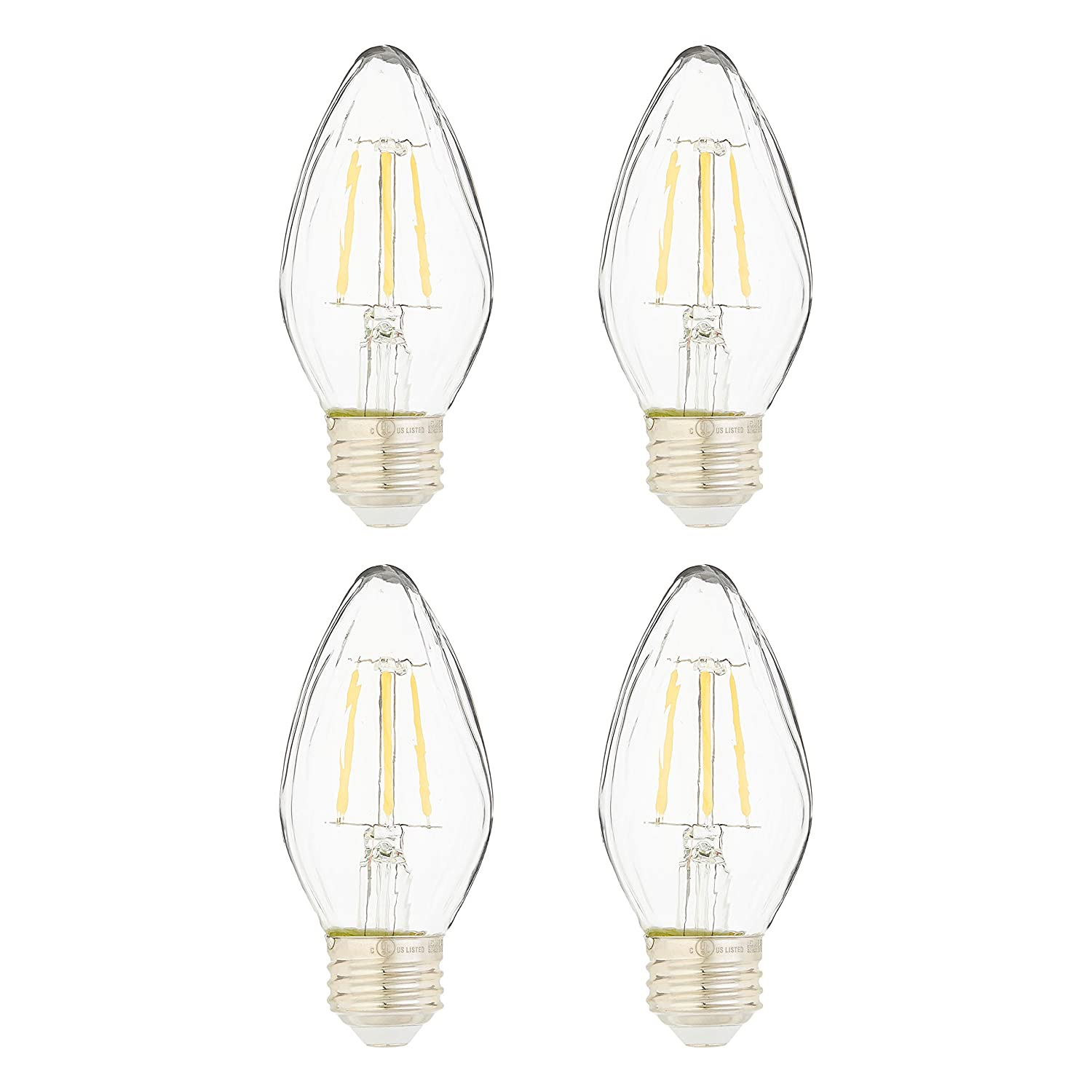 AmazonBasics 60 Watt Equivalent, Clear, Dimmable, F15 | Soft White, 4-Pack