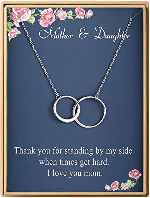 Daughter Wedding Gift Mother Daughter Jewelry Gift Mother Necklace Meaningful Interlocking Necklace for Daughter Graduation Birthday
