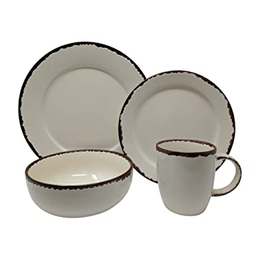 Gianna's Home 16 Piece Rustic Farmhouse Country Stoneware Distressed Dinnerware Set, Service for 4 (Ivory)