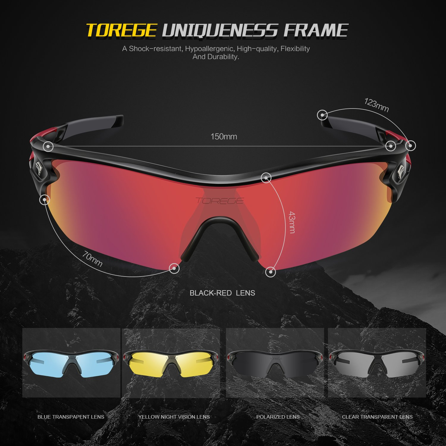 6ffb7bbb00f Amazon.com  TOREGE Polarized Sports Sunglasses with 5 Interchangeable Lenes  for Men Women Cycling Running Driving Fishing Golf Baseball Glasses TR002  (Black ...