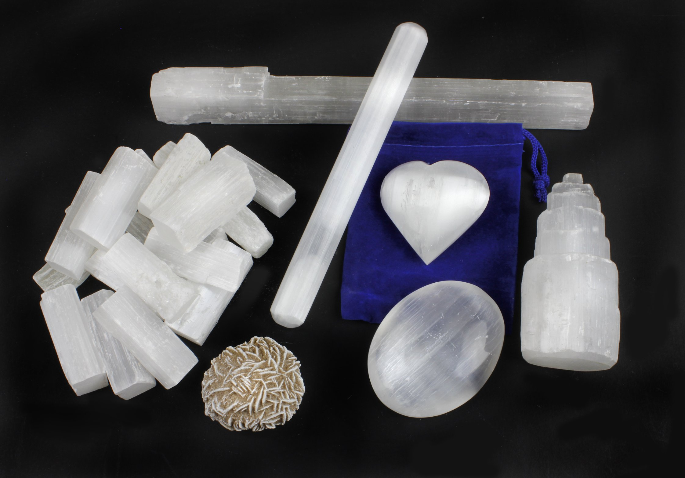 Selenite Protection Collection: 1.5'' Sticks (17-20 pcs), Palm Stone, Heart, Tower, 8'' Stick, 5.5'' Massage Wand, Desert Rose stone, Educational ID card, Healing, Chakra, Good Energy, Dancing Bear brand by Dancing Bear