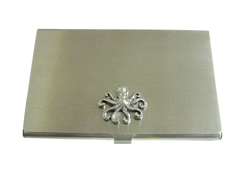 Silver Toned Textured Octopusビジネスカードホルダー   B06XVN2MGY