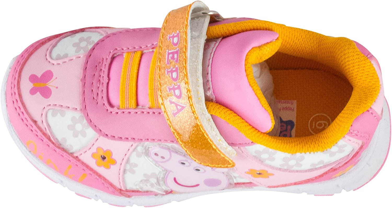 See More Sizes Peppa Pig Toddler Girls Light Up Jogger Sneaker Pink /& Orange