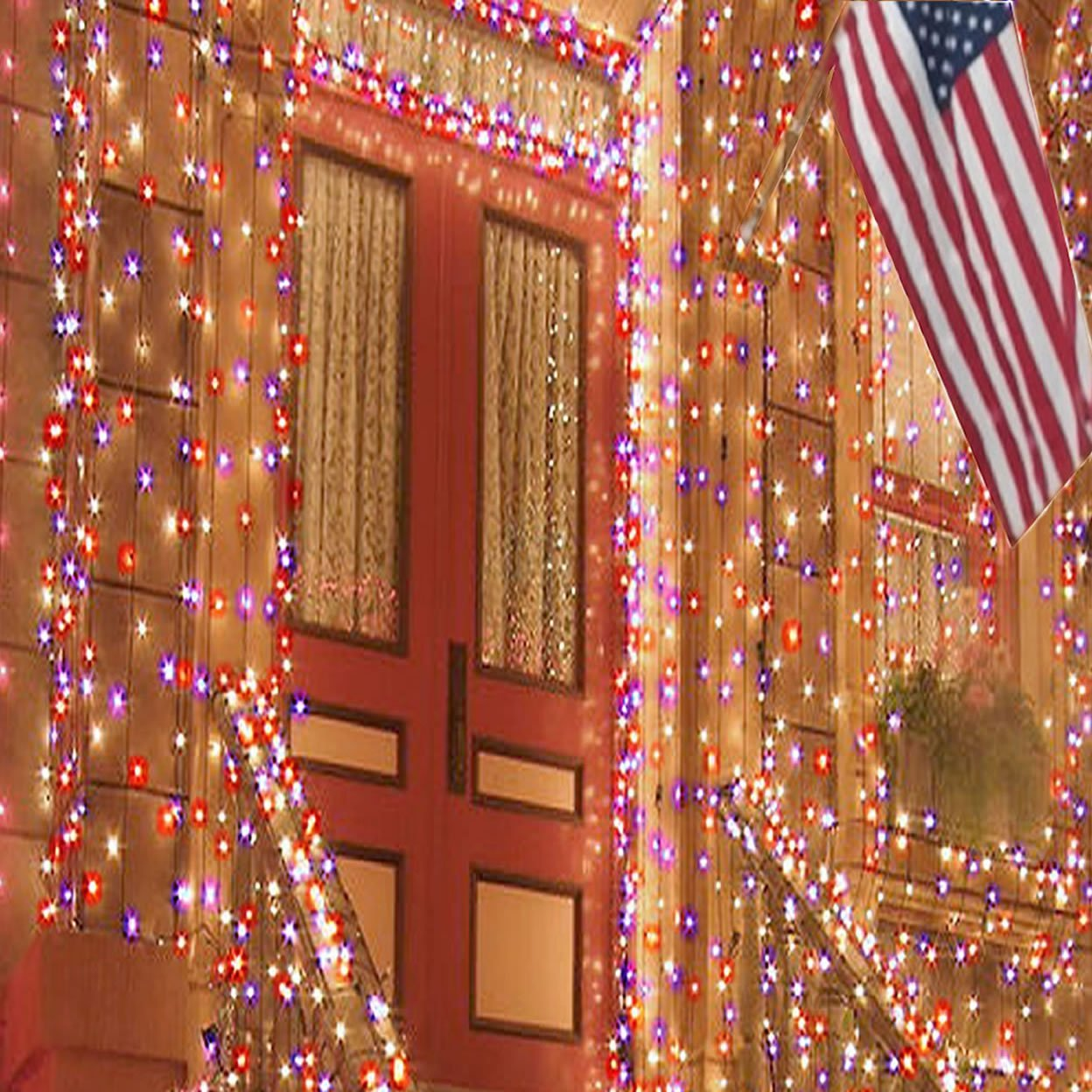 30off red white blue solar sting lights patriotic decorations outdoor memorial day