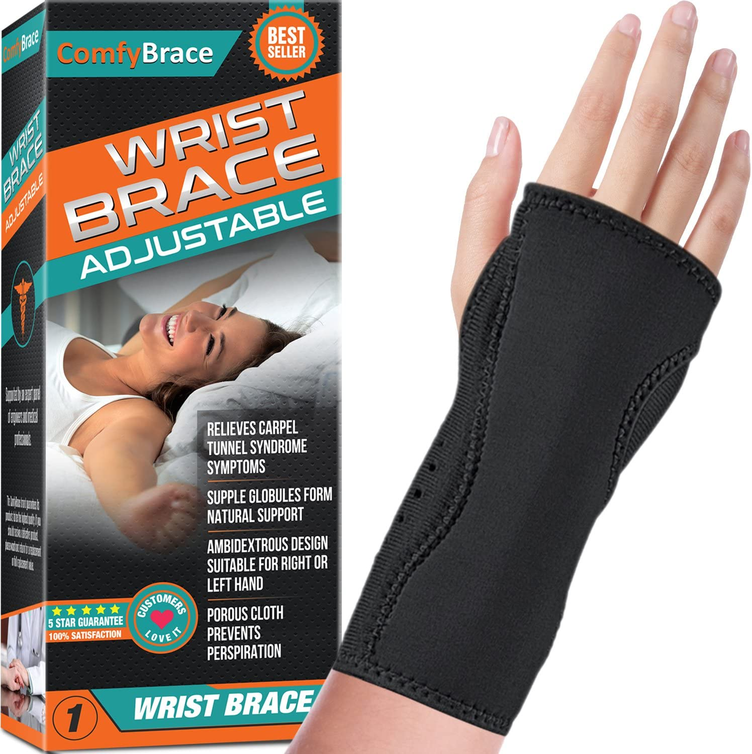 Night Wrist Sleep Support Brace - Fits Both Hands - Cushioned to Help With Carpal Tunnel and Relieve and Treat Wrist Pain ,Adjustable, Fitted-ComfyBrace: Health & Personal Care