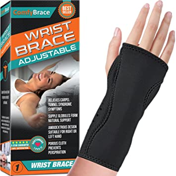 Night Wrist Sleep Support Brace - Fits Both Hands - Cushioned to Help with  Carpal Tunnel and