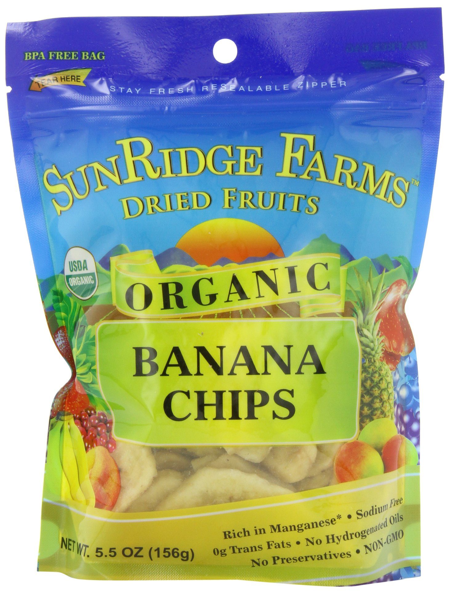 Sunridge Farms Organic Banana Chips, 5.5-Ounce Bags (Pack of 12)