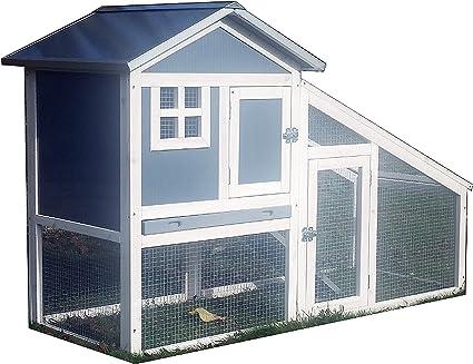 Casa para conejos o cobayas, con jaula y con 2 pisos (RH10 ...
