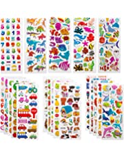 SAVITA Stickers for Kids 500+ Kids & Toddlers Paquete de variedades de Pegatinas hinchadas, Pegatinas 3D hinchadas Que Incluyen Letras, números, Mariposas, Peces, Dinosaurios y más