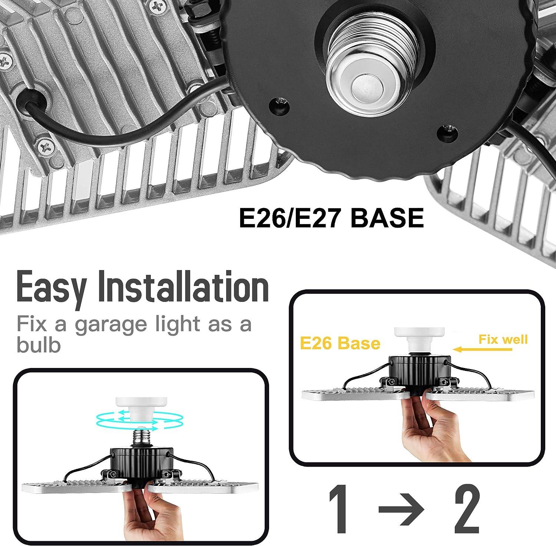 Adjustable Garage Lights No Motion Activated 82W CRI 80 Led Shop Lights for Garage Deformable LED Garage Ceiling Lights 9000 Lumens 2-Pack Led Garage Lighting LZHOME LED Garage Lights