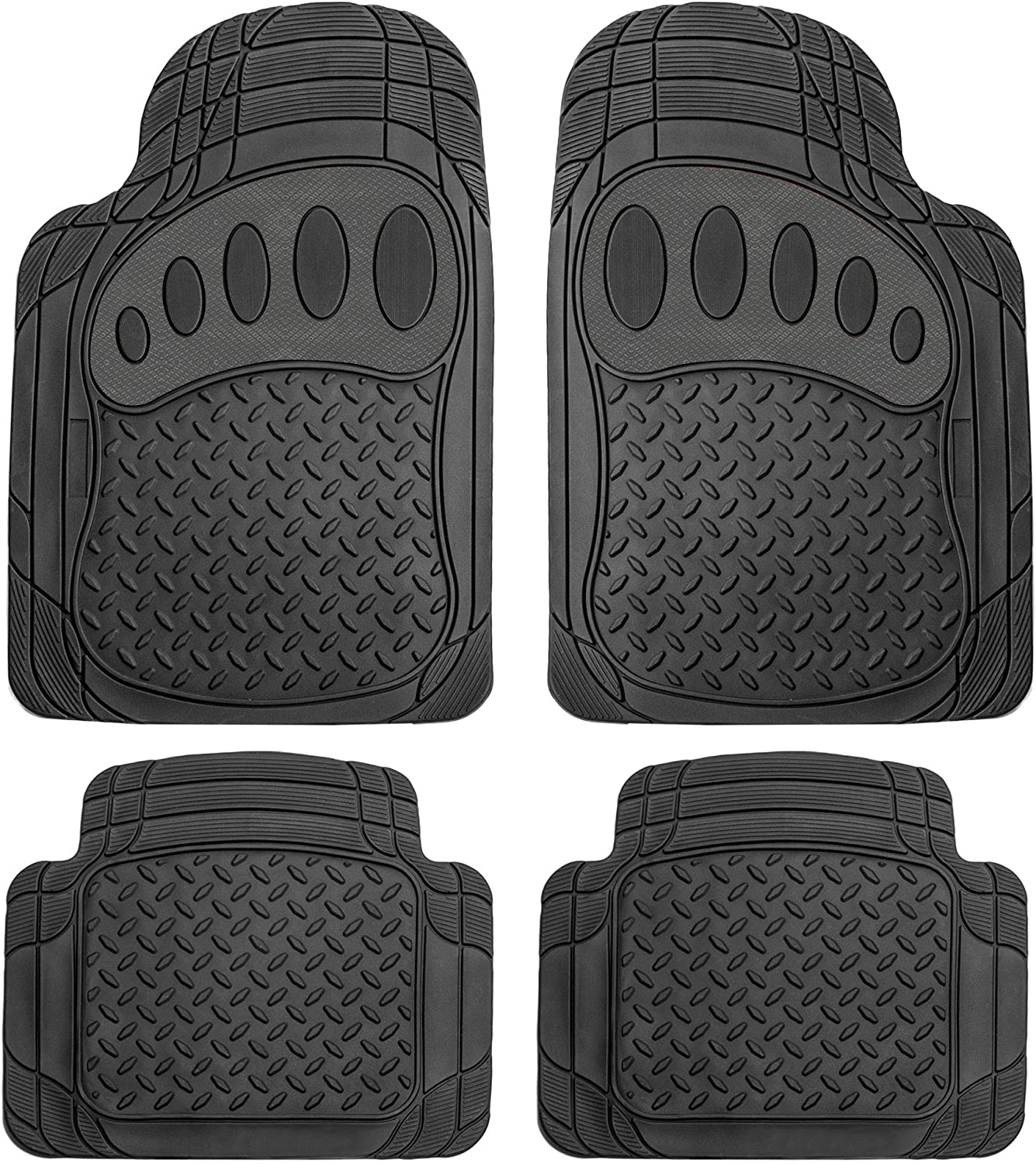FH Group Solid Black Pattern F11310SOLIDBLACK Trimmable Car 4 Piece Heavy Duty All Weather Floor Mats