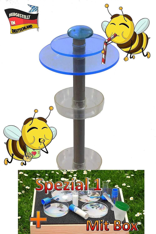 /ÖLBAUM Gartendeko MASSIVHOLZ Sonnenf/änger als funktionale Bienentr/änke Holz pink 2X Lichtscheibe BLAU +6X Tr/änke-Bienenstock Bienenwiese SPEZIAL1 mit Holzbox