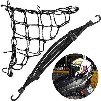 Motorrad Gepäcknetz Fahrrad Reflektieren Netz Helmnetz Mit Haken Spannnetz Elastisches Gepäckband Gepäck Seil Gepäcktasche Gummizug Auto