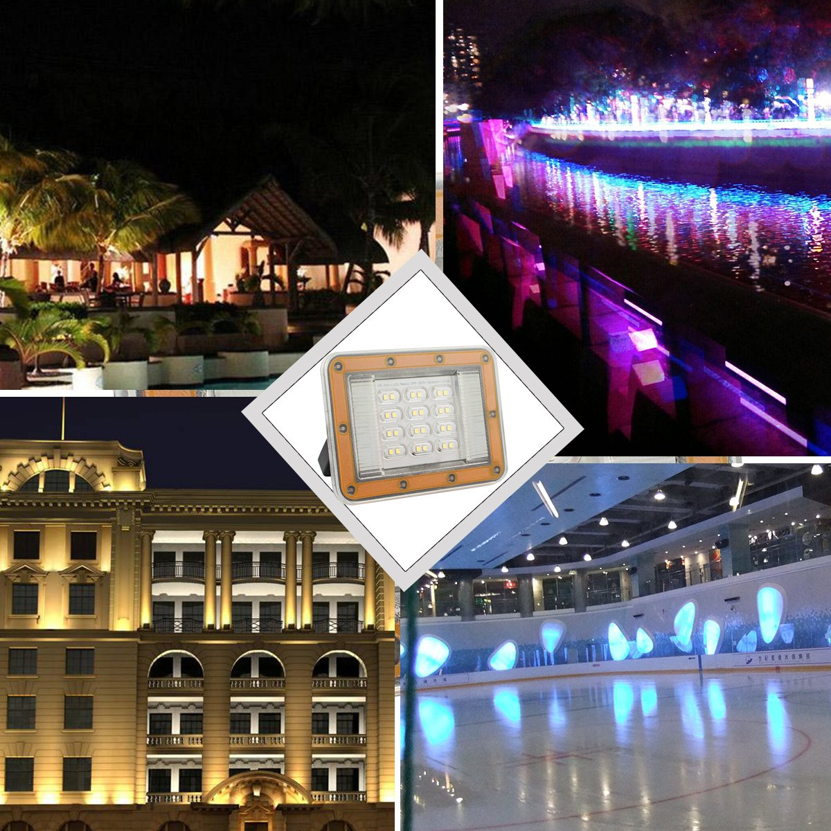 B2ocled 1x 20W Waterproof LED Floodlight Ultrathin Security Light Super Bright Outdoor Wall Light with Plug Daylight