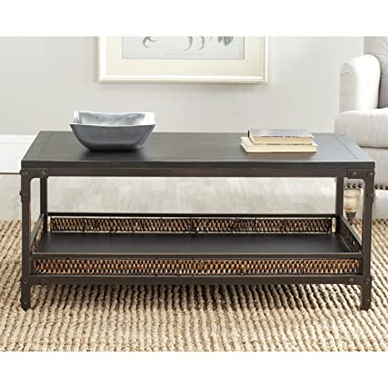 Safavieh American Homes Collection Dinesh Black And Dark Walnut Coffee Table