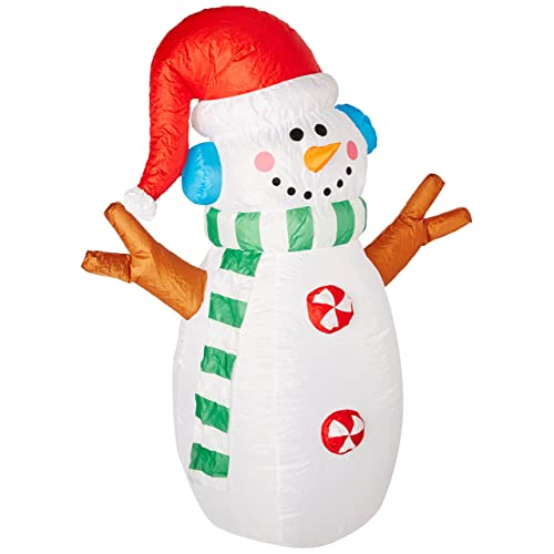 4 Foot Tall Lighted Inflatable Snowman Indoor Outdoor Yard Decoration - Outdoor Lighted Snowman Decorations: Amazon.com