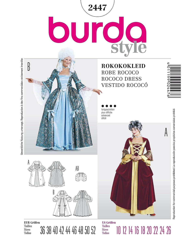 Burda de patrones de costura para vestido de 2447 rokoko - vestido ...
