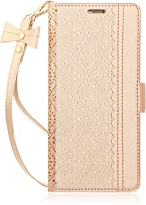 WWW iPhone 6S Plus Case, iPhone 6 Plus Case, [Luxurious Romantic Carved Flower] Leather Wallet Case with [Inside Makeup Mirror] and [Kickstand Feature] for Apple iPhone 6/6S Plus Gold