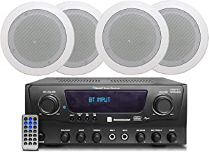 2-Ch 1000 Watts Bluetooth Home Amplifier System Receiver w/USB and SD (Qty 4) 6.5 Flush Mount in-Wall/in-Ceiling Stereo Speakers