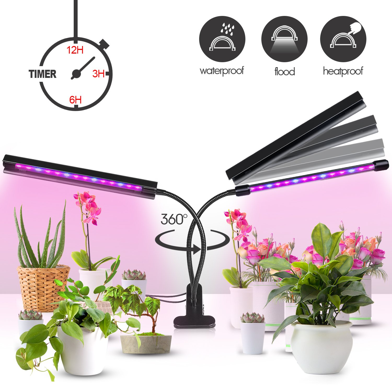 Plant Grow Light [Newest Upgraded - Lamp Cover Design] 20W Dual Head 40 LED 5 Dimmable Levels Grow Lights for Indoor Plant with 3/6/12H Automatic Cycle Timer, Red/Blue Spectrum, Adjustable Gooseneck TWOYOUI F700 Plant Grow Light