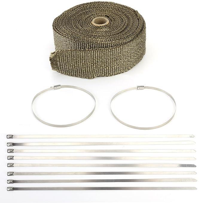 Kit de Rollo de Cinta Anticalorica Titanio para Colectores de Escape con clips (café, 10 metros): Amazon.es: Coche y moto