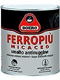 FERROPIU' MICACEO BOERO SMALTO ANTIRUGGINE X INTERNI ED ESTERNI APPLICABILE DIRETTAMENTE SULLA RUGGINE, ASPETTO ANTICO LT. 0,750 GRIGIO CHIARO GRANA FINE.