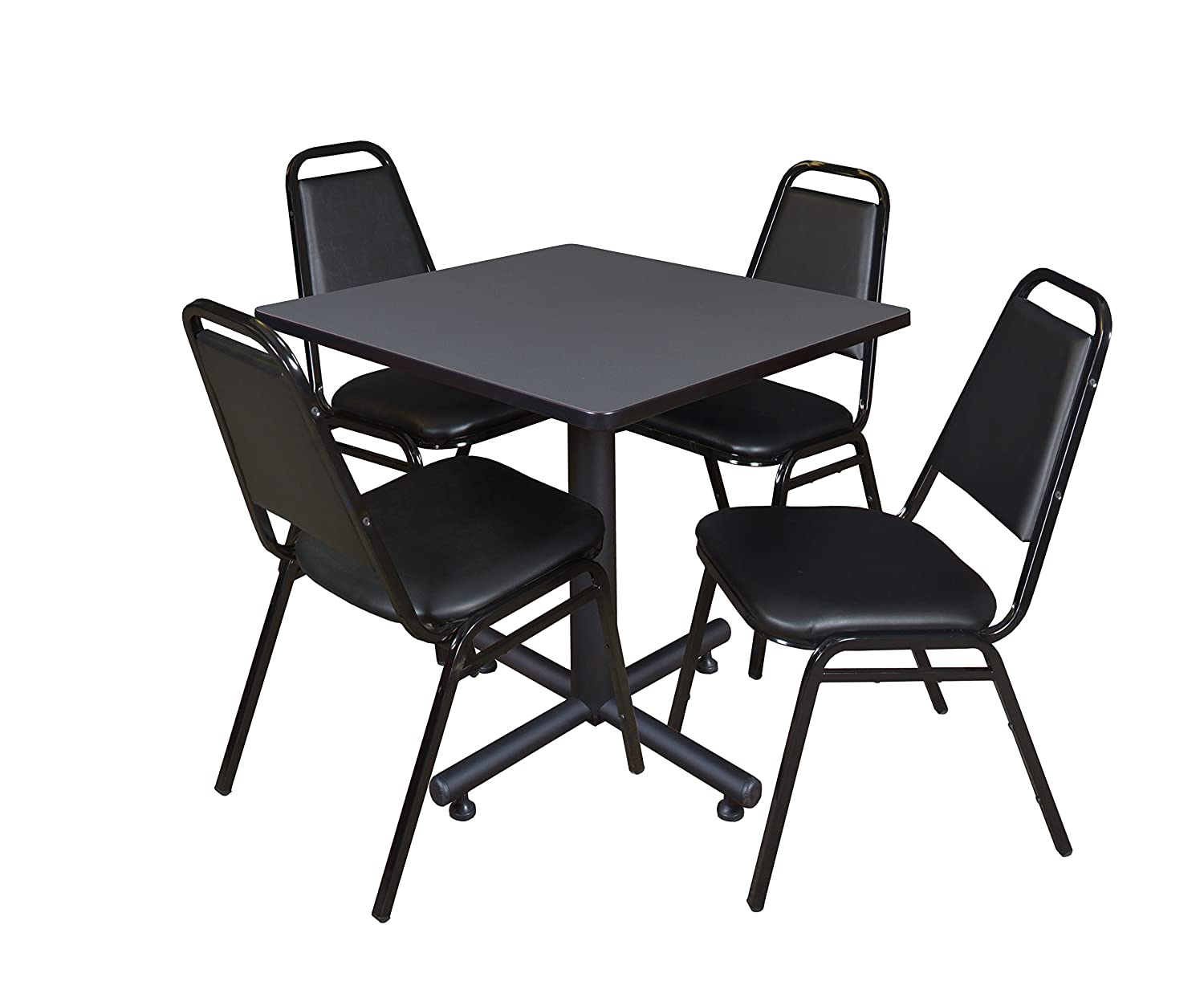 Mahogany and 4 Restaurant Stack Chairs Regency Kobe 36-Inch Square Breakroom Table Black