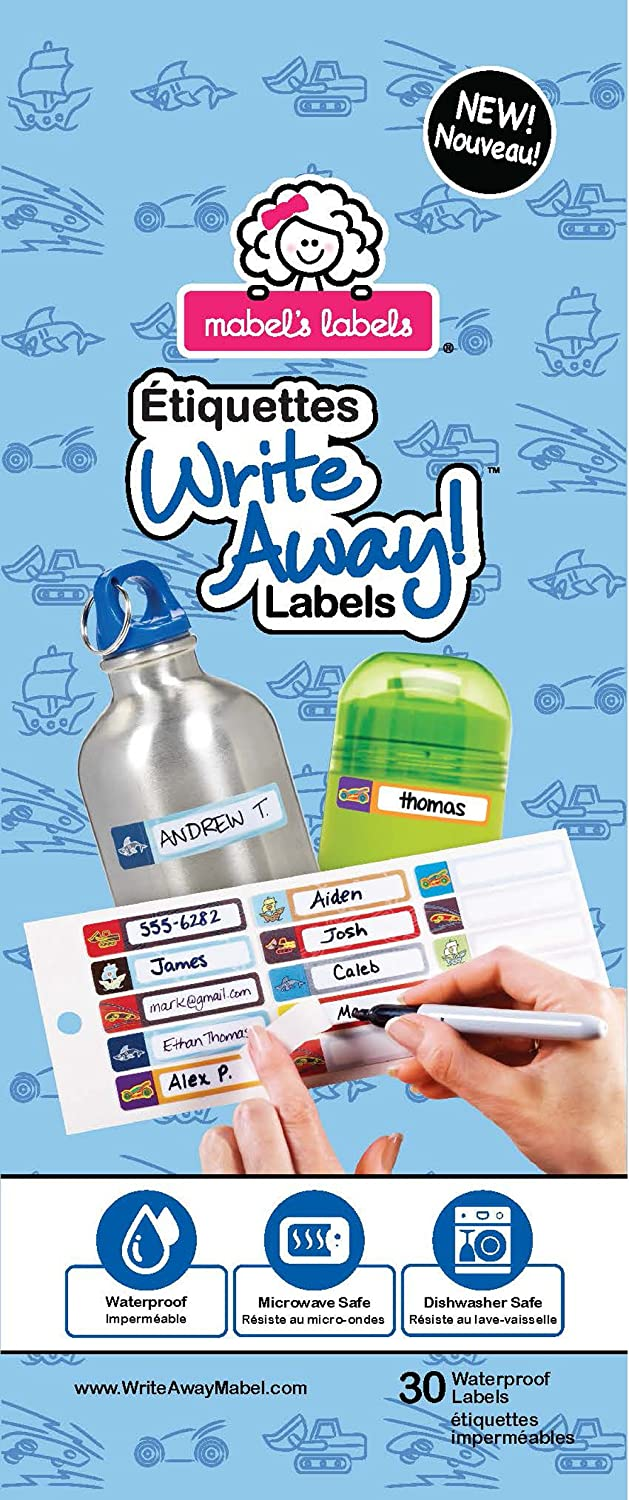 Write Away! Peel and Stick Labels for Boys (Blue, Pack of 30) 40859121