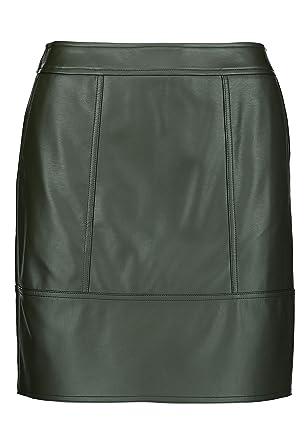 next - Mini Falda de Piel sintética para Mujer Verde 44 ES: Amazon ...