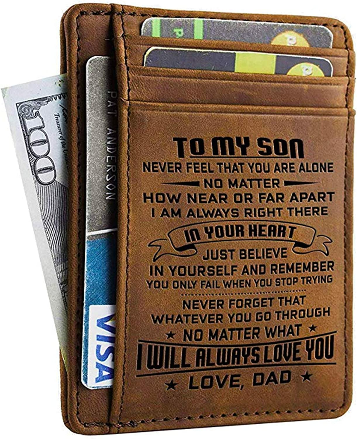 Personalized Orange /& Blue Stripes Genuine Leather Front Pocket Wallet
