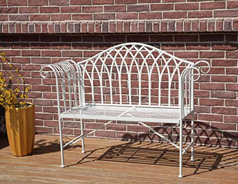 Awesome Westwood 2 Seater Garden Bench Metal Steel Ornate Antique Rustic Vintage Style Park Patio Outdoor Furniture Seat Chair White Mgb03 Beatyapartments Chair Design Images Beatyapartmentscom