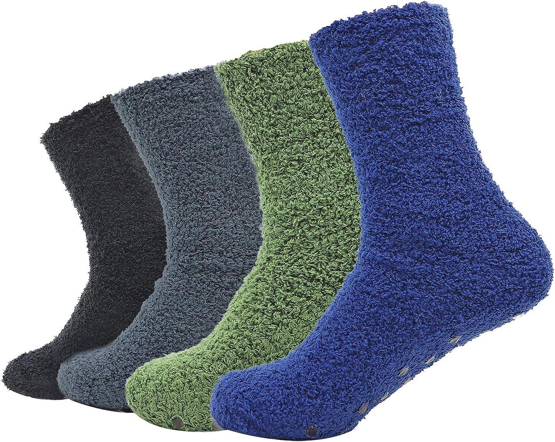 Men's 4 Pack Winter Thick Socks Warm Comfort Soft Fuzzy Floor Socks