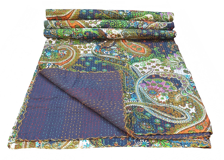 multicolor paisley print king size kantha quilt kantha blanket bed cover king kantha bedspread bohemian bedding kantha size 90 inch x 108 inch