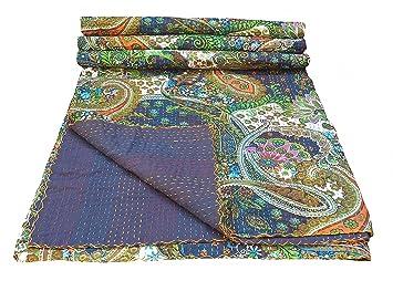 multicolor paisley print king size kantha quilt kantha blanket bed cover king kantha