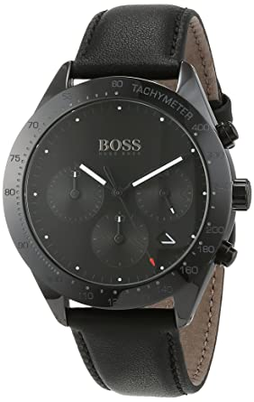 de6389f35 Hugo Boss Talent Chronograph Black Dial Date Display Black Leather 1513590