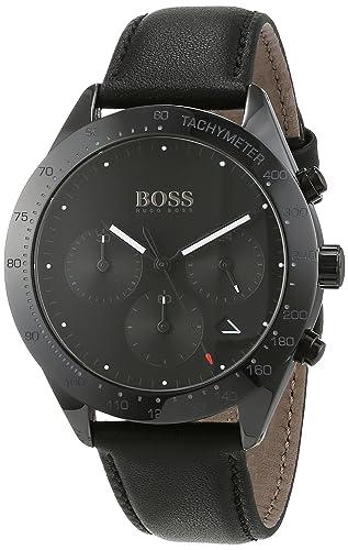 0bc932f25 Hugo BOSS Unisex-Adult Chronograph Quartz Watch with Leather Strap 1513590:  Amazon.co.uk: Watches