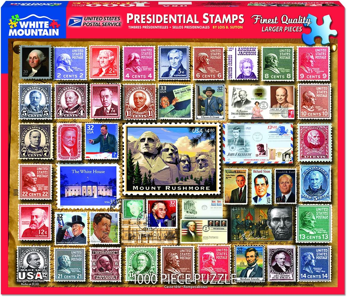 White Mountain Puzzles Presidential Stamps - 1000 Piece Jigsaw Puzzle