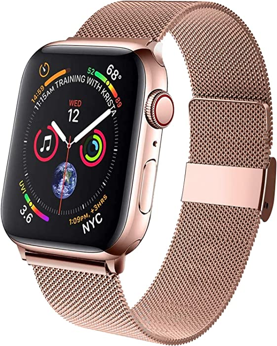 ZSUOOP Bands Compatible with Apple Watch Bands 38mm 40mm 42mm 44mm, Stainless Steel Mesh Strap Replacement for iwatch Series 6/5/4/3/2/1/SE