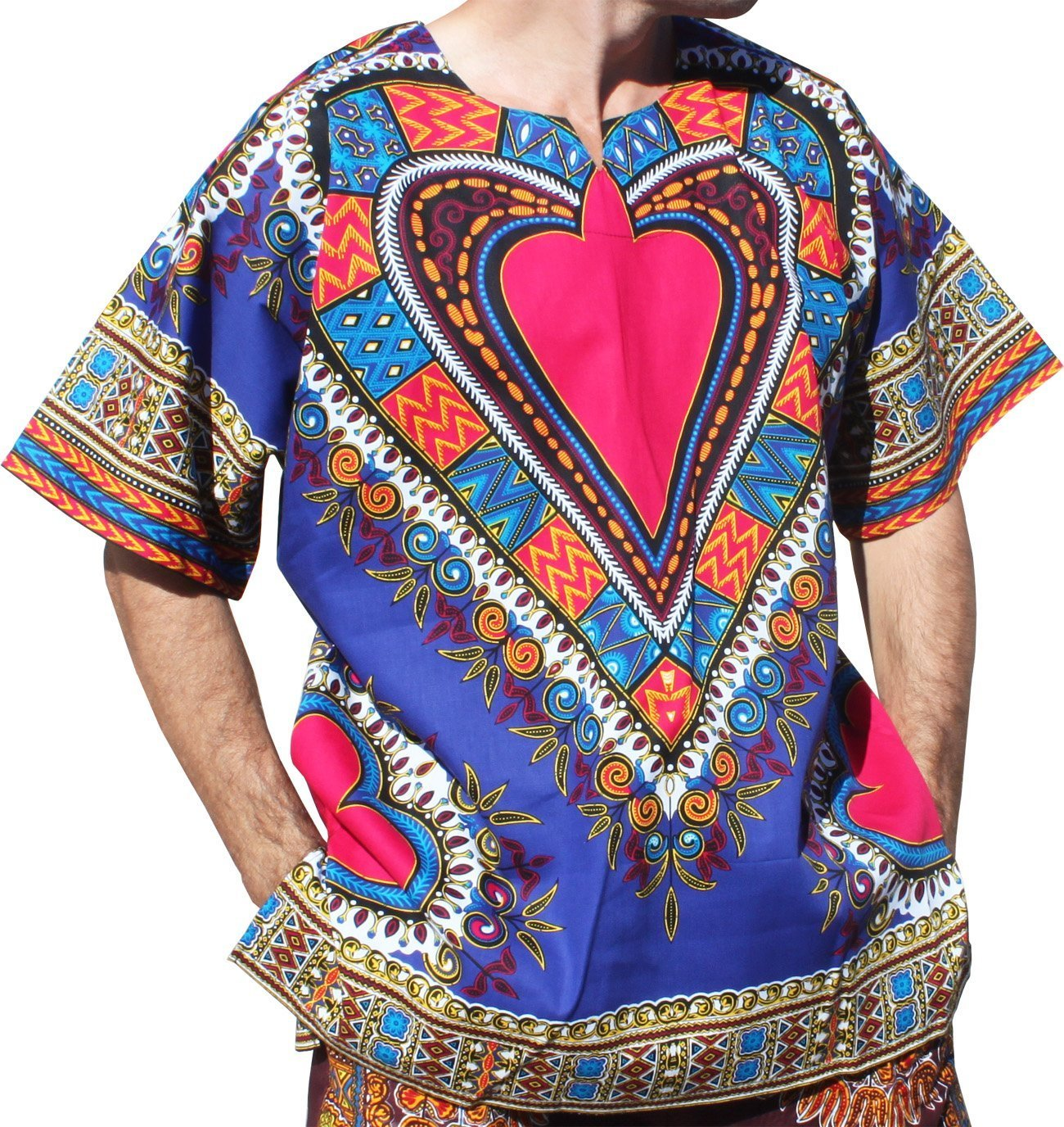 RaanPahMuang Bright Heart Cotton Africa Dashiki Plus Sized Shirt Plain Front, XXXXXXX-Large, Medium Blue by RaanPahMuang