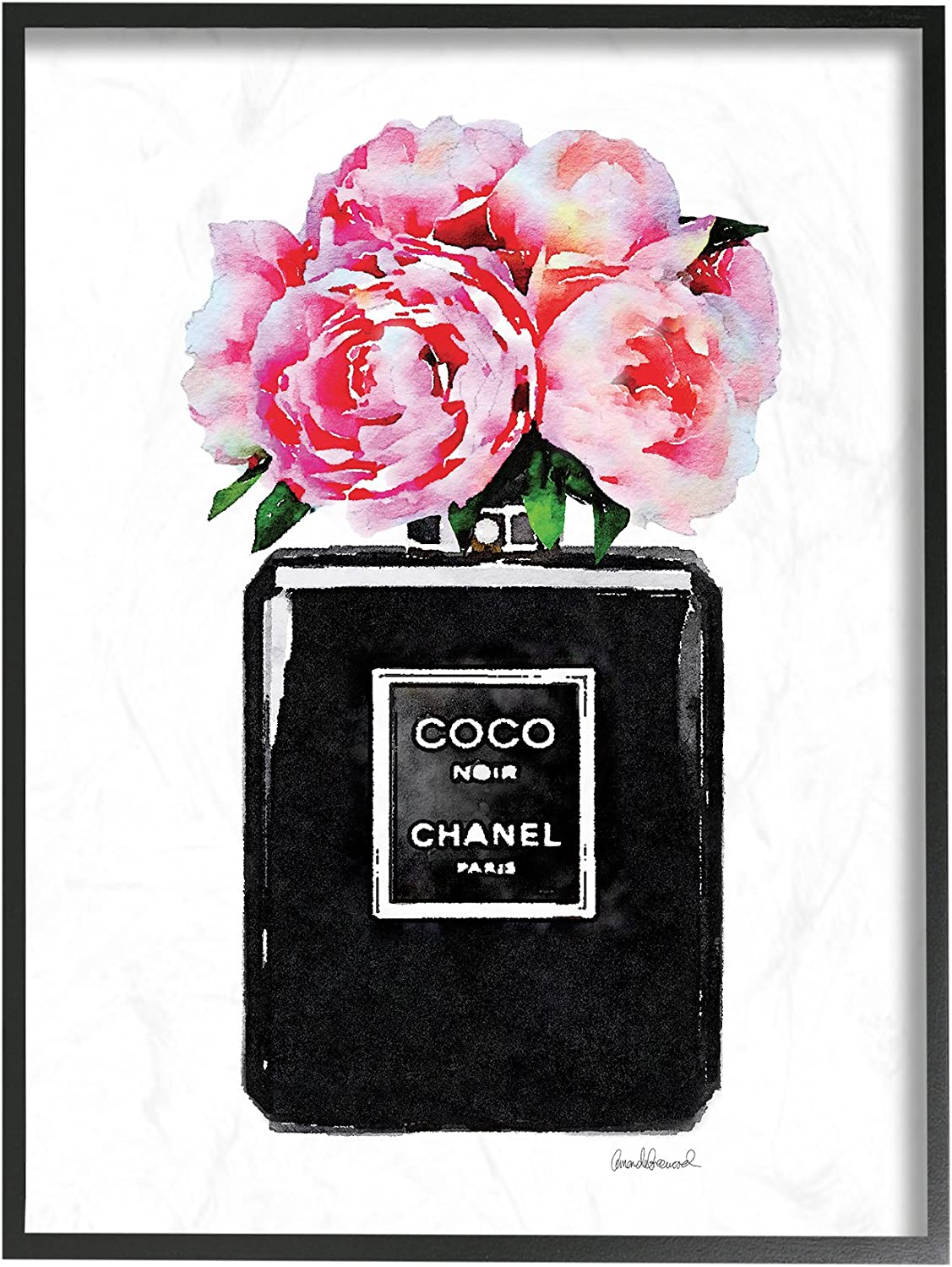 Stupell Industries Glam Perfume Bottle Flower Black Peony Pink Framed Wall Art, 16 x 20