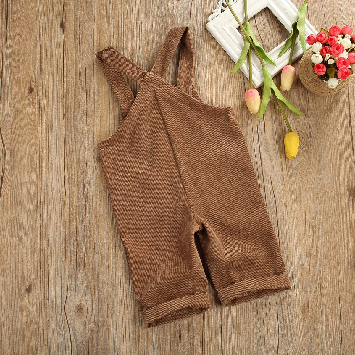 Yingyingni Toddler Baby Corduroy Knotted Jumpsuit Solid Bib Overalls with Pocket Retro Strap Pants for Boys Girls