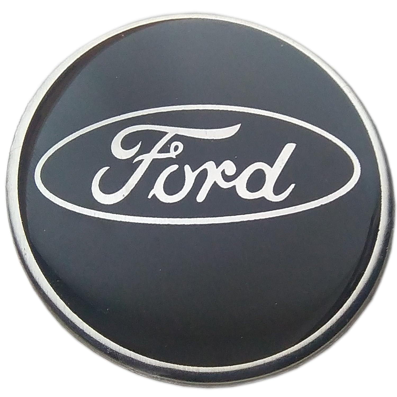 Replica coprimozzo adesiva Ford, in lega, centro con logo, 60 mm, resina epossidica, colore: nero, set da 4 60mm resina epossidica aftermarket decals