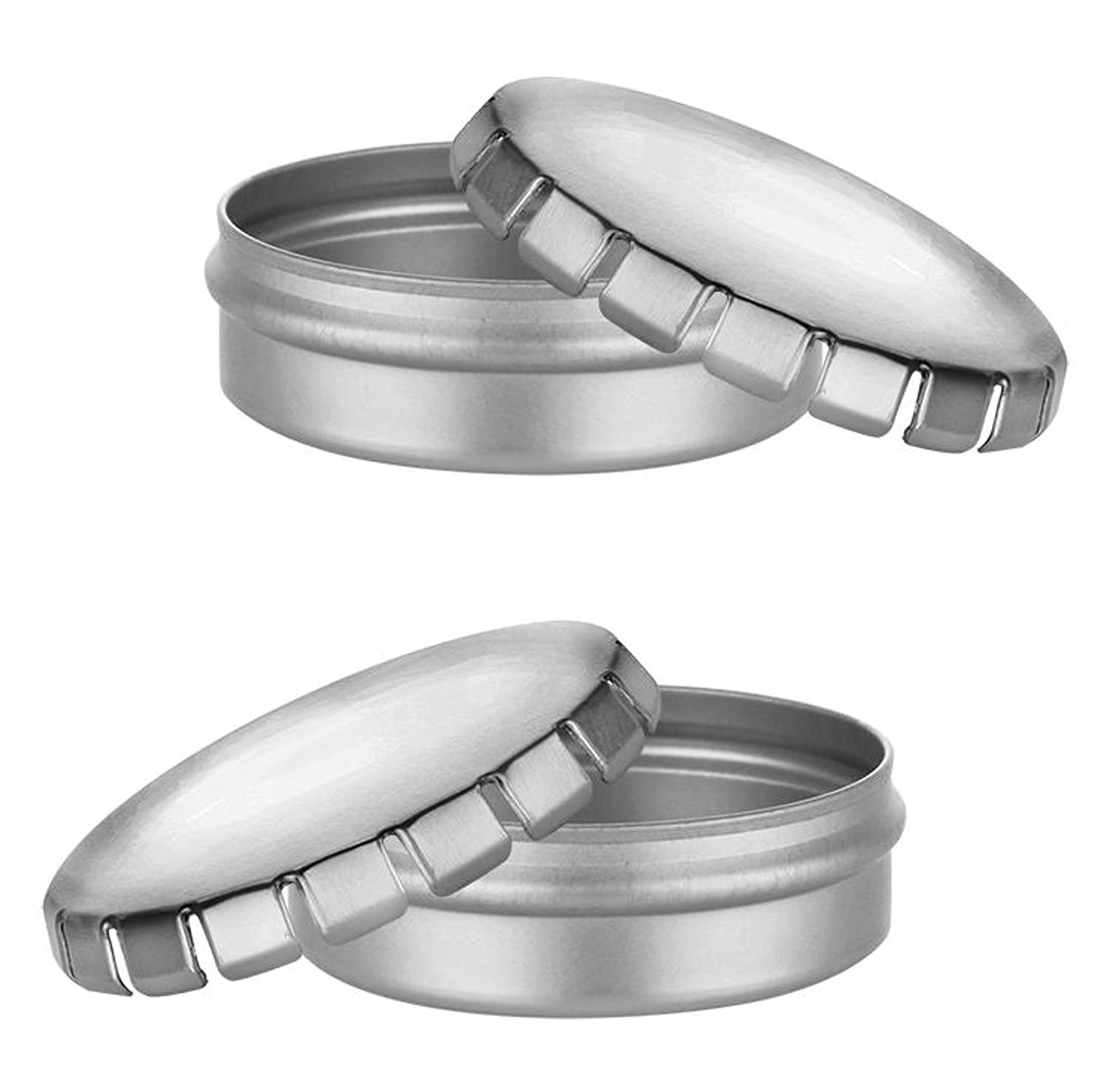 Small Round Silver Metal Tins 1 oz Containers for Crafts by MagnaKoys® (pack of 3) MagnaKoys® MK-2971-3