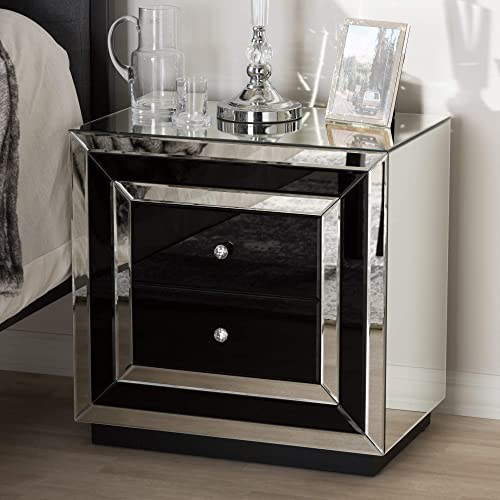 Baxton Studio Cecilia Mirrored 2 Drawer Nightstand