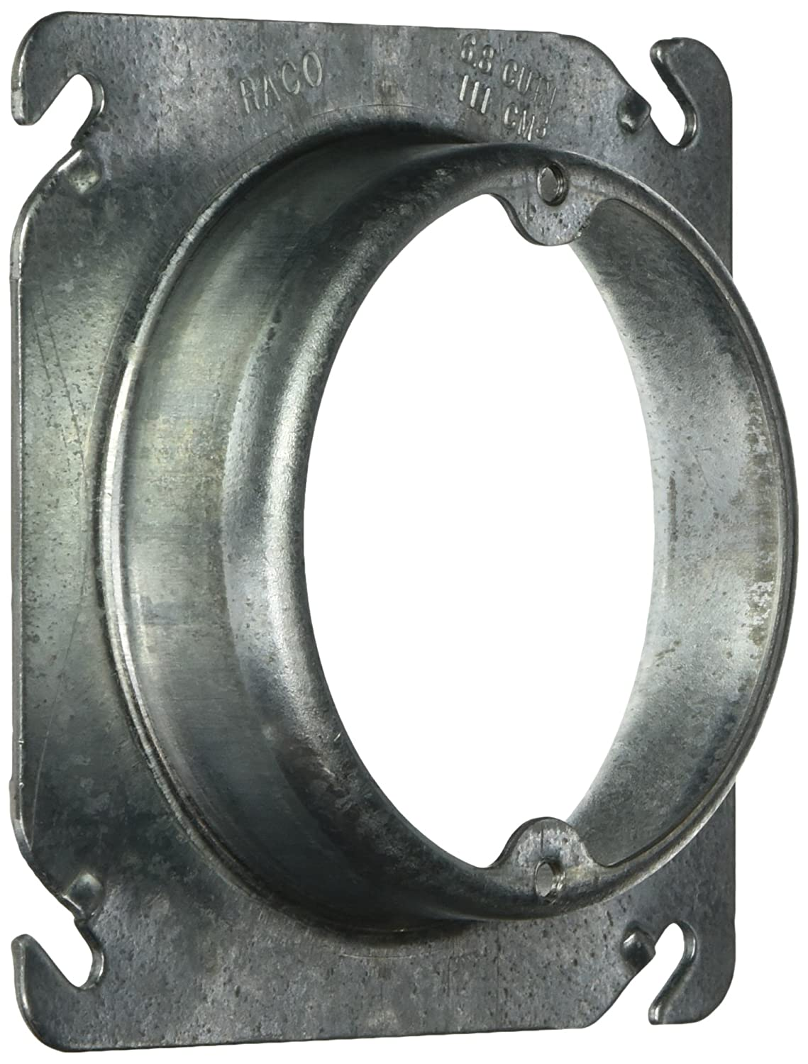 Hubbell Raco 757 Drawn Square Mud Ring for Fixtures with Raised 1 Inch and Open Ears 4 Inch