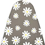 Encasa Homes Replacement Ironing Board Cover with 3mm Thick Felt Pad for Steam Press (Fits Standard Medium Boards of 112 x 33 cm) Heat Reflective, Scorch & Stain Resistant, Printed - Daisy Grey